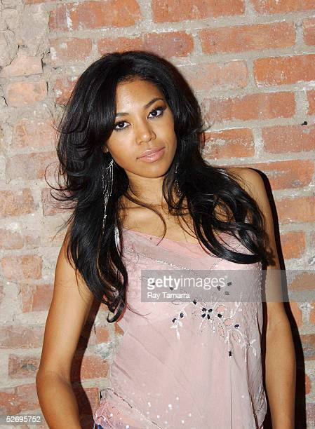 Recording artist Amerie poses for photos at her 'Touch' Album Release Party at Club Exit April 25 2005 in New York City
