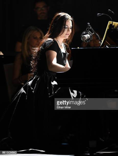 Recording artist Amy Lee of Evanescence performs as the band kicks off its tour in support of the upcoming album 'Synthesis' at The Pearl concert...
