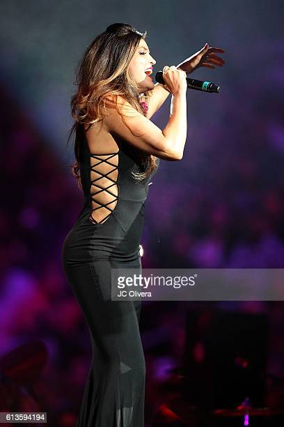 Recording artist Ana Barbara performs as special guest during Marco Antonio Solis AKA 'El Buki' concert at Staples Center on October 8 2016 in Los...