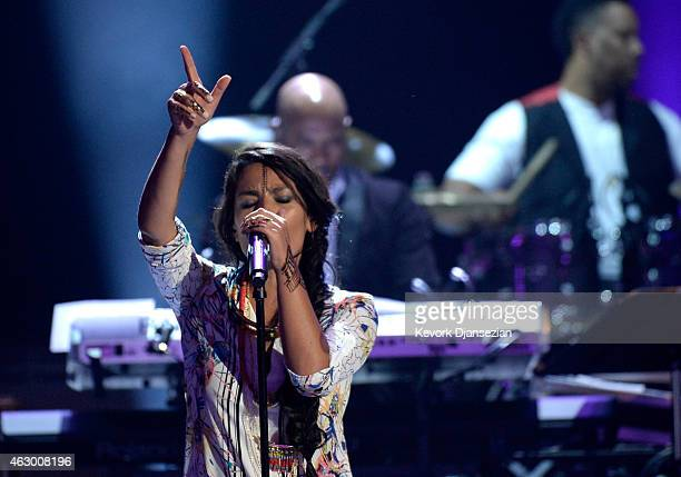 Recording artist Ana Tijoux performs onstage during the The 57th Annual GRAMMY Awards Premiere Ceremony at Nokia Theatre LA Live on February 8 2015...