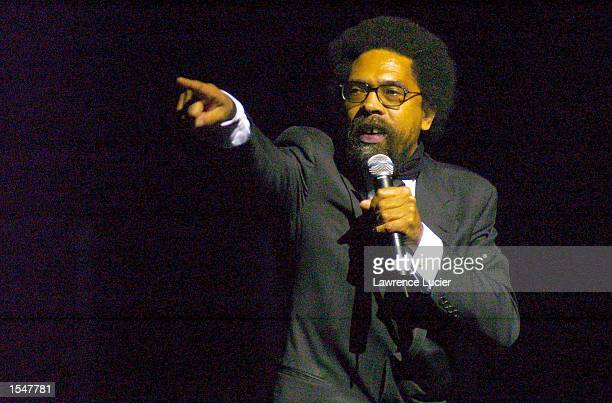 Recording artist and academic Cornel West performs at the Artists Empowerment Coalition benefit concert October 28 at the Beacon Theater in New York...