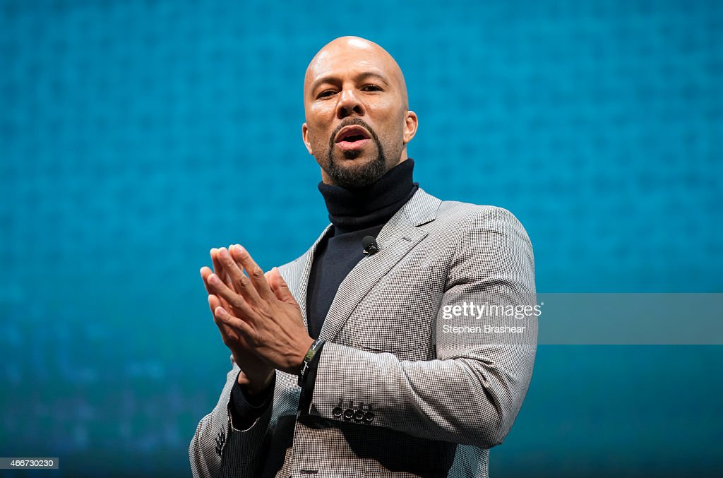 Recording artist and actor Common speaks during the Starbucks annual shareholders meeting March 18, 2015 in Seattle, Washington. Common spoke as part of the Starbucks 'Race Together' program an effort to promote discussion on racial inequality in the United States.