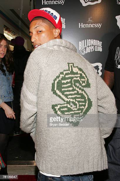 Recording artist and co-owner Pharrell Williams attends the Billionaire Boys Club / Ice Cream flagship store opening on November 28, 2007 in New York...