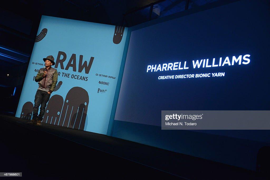 Pharrell Williams Curates Collaboration Between Bionic Yarn And G-Star Turning Ocean Plastic Into Denim : News Photo