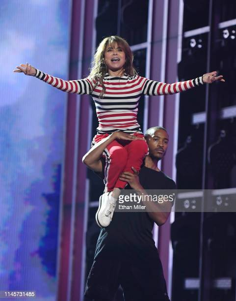 Recording artist and dancer Paula Abdul rehearses for the 2019 Billboard Music Awards at MGM Grand Garden Arena on April 28 2019 in Las Vegas Nevada