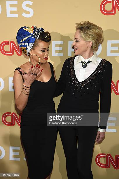 Recording artist Andra Day and actress Sharon Stone attend CNN Heroes 2015 Red Carpet Arrivals at American Museum of Natural History on November 17...