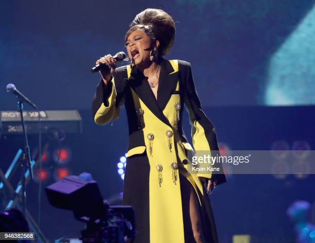 Recording artist Andra Day pays tribute to Nina Simone during the 33rd Annual Rock Roll Hall of Fame Induction Ceremony at Public Auditorium on April...
