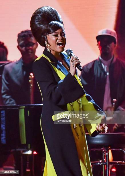 Recording artist Andra Day pays tribute to Nina Simone during the 33rd Annual Rock & Roll Hall of Fame Induction Ceremony at Public Auditorium on...