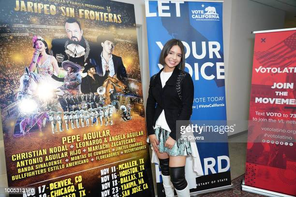 Recording artist Angela Aguilar attends a press conference to discuss voting rights and voter registration hosted by Pepe Aguilar and Voto Latino at...