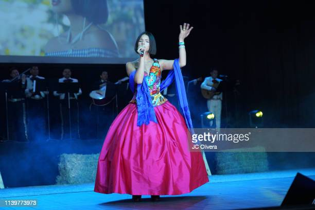 Recording artist Angela Aguilar performs onstage during Pepe Aguilar and Family 'Jaripeo Sin Fronteras 2019' press conference at Los Angeles Theatre...