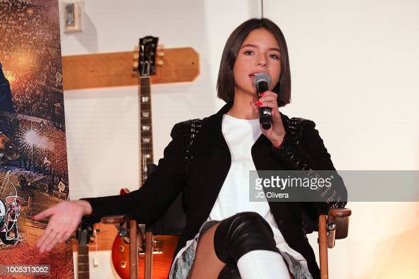 Recording artist Angela Aguilar speaks during a press conference to discuss voting rights and voter registration hosted by Pepe Aguilar and Voto...