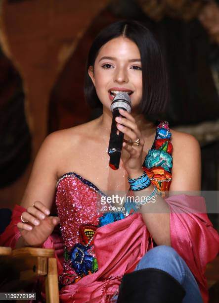 Recording artist Angela Aguilar speaks onstage during Pepe Aguilar and Family 'Jaripeo Sin Fronteras 2019' press conference at Los Angeles Theatre on...