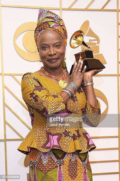 Recording artist Angelique Kidjo poses in the press room during The 58th GRAMMY Awards at Staples Center on February 15 2016 in Los Angeles California
