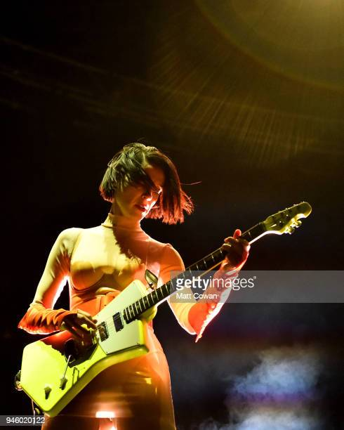 Recording Artist Annie Clark of St Vincent performs onstage the 2018 Coachella Valley Music And Arts Festival at the Empire Polo Field on April 13...