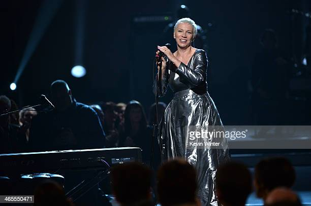 Recording artist Annie Lennox of Eurythmics performs onstage during The Night That Changed America A GRAMMY Salute To The Beatles at the Los Angeles...