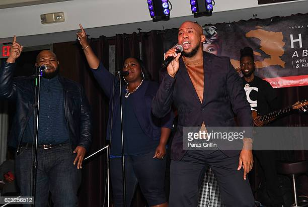 Recording artist Anthony Brown performs onstage at Tasha Cobbs Presents A Benefit Concert For Haiti at Suite Lounge on November 14 2016 in Atlanta...