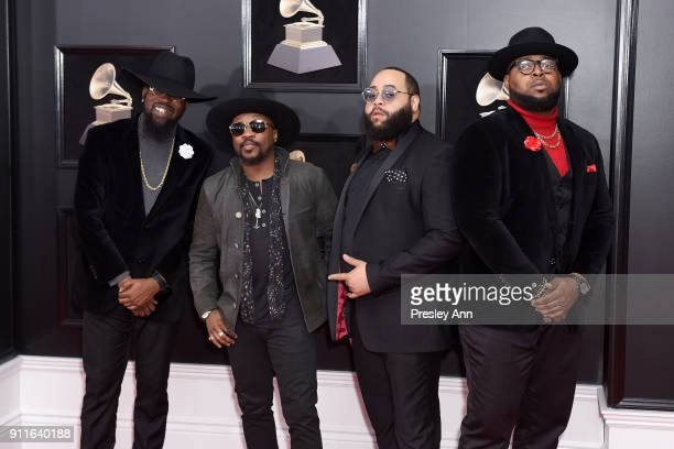 Recording artist Anthony Hamilton and The Hamiltones attends the 60th Annual GRAMMY Awards Arrivals at Madison Square Garden on January 28 2018 in...