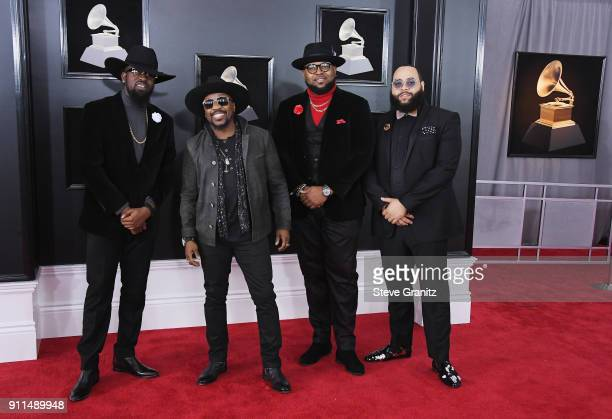 Recording artist Anthony Hamilton with music group Anthony Hamilton The Hamiltones attend the 60th Annual GRAMMY Awards at Madison Square Garden on...