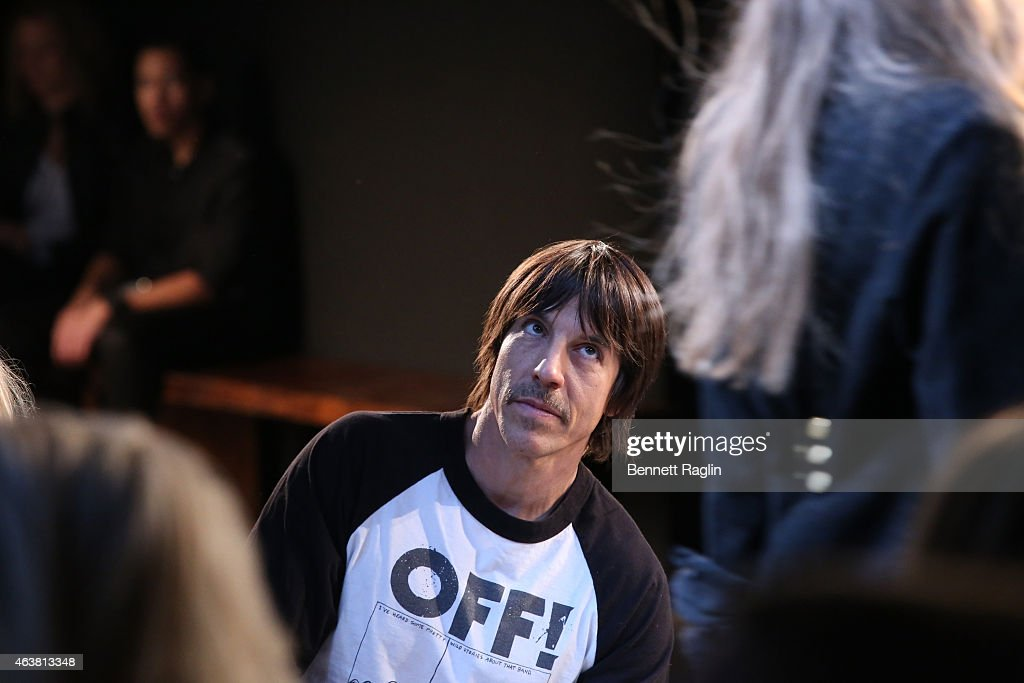Recording artist Anthony Kiedis attends the Greg Lauren fashion show during Mercedes-Benz Fashion Week Fall 2015 at ArtBeam on February 18, 2015 in New York City.