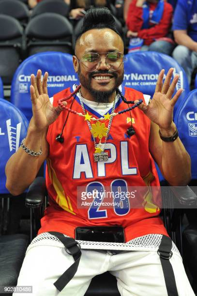 Recording artist apldeap of The Black Eyed Peas attends a basketball game between the Los Angeles Clippers and the Atlanta Hawks at Staples Center on...