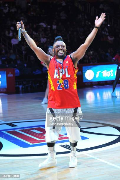 Recording artist apldeap of The Black Eyed Peas performs during halftime of a basketball game between the Los Angeles Clippers and the Atlanta Hawks...
