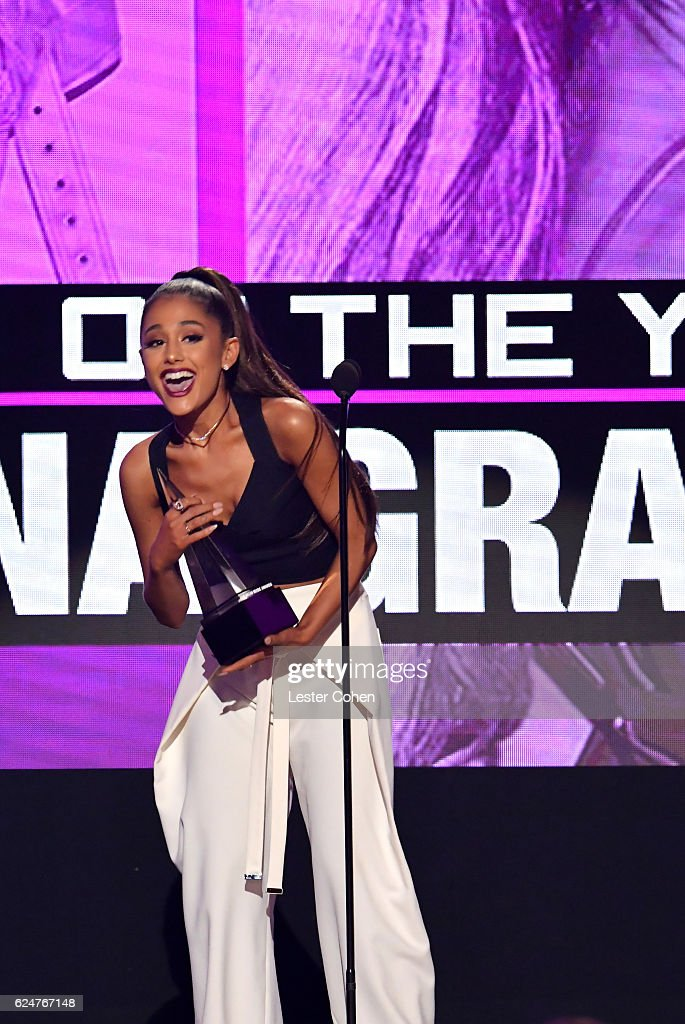 Recording artist Ariana Grande accepts the award for Artist of the Year onstage at the 2016 American Music Awards at Microsoft Theater on November 20, 2016 in Los Angeles, California.