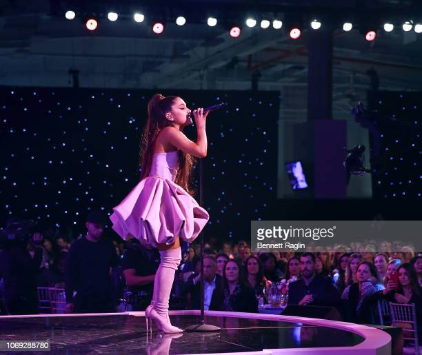 Recording artist Ariana Grande attends Billboard's Women In Music 2018 with FIJI water at Pier 36 on December 6, 2018 in New York City.