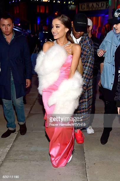 Recording artist Ariana Grande backstage at the 2016 MTV Movie Awards at Warner Bros Studios on April 9 2016 in Burbank California MTV Movie Awards...