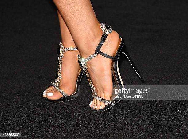 Recording artist Ariana Grande fashion detail winner of Favorite Pop/Rock Female Artist poses in the press room during the 2015 American Music Awards...