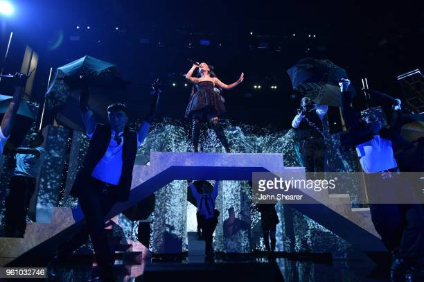 Recording artist Ariana Grande performs at the 2018 Billboard Music Awards at MGM Grand Garden Arena on May 20 2018 in Las Vegas Nevada