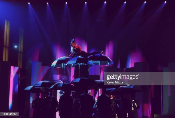 Recording artist Ariana Grande performs during the 2018 Billboard Music Awards at MGM Grand Garden Arena on May 20 2018 in Las Vegas Nevada