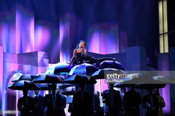 Recording artist Ariana Grande performs onstage at the 2018 Billboard Music Awards at MGM Grand Garden Arena on May 20 2018 in Las Vegas Nevada