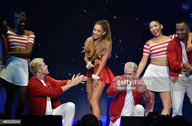 Recording artist Ariana Grande performs onstage during KIIS FM's Jingle Ball 2014 powered by LINE at Staples Center on December 5 2014 in Los Angeles...