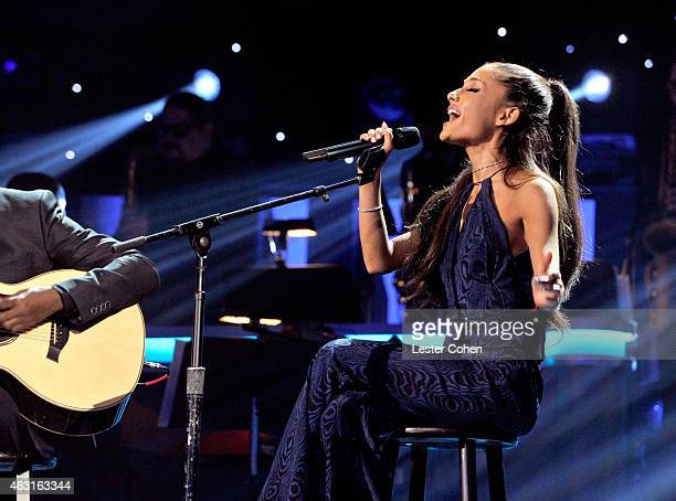 Recording artist Ariana Grande performs onstage during Stevie Wonder Songs In The Key Of Life An AllStar GRAMMY Salute at Nokia Theatre LA Live on...