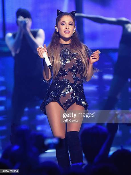 Recording artist Ariana Grande performs onstage during the 2014 iHeartRadio Music Festival at the MGM Grand Garden Arena on September 19 2014 in Las...