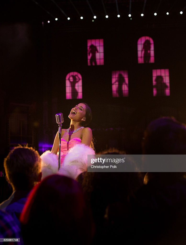 Recording artist Ariana Grande performs onstage during the 2016 MTV Movie Awards at Warner Bros. Studios on April 9, 2016 in Burbank, California. MTV Movie Awards airs April 10, 2016 at 8pm ET/PT.