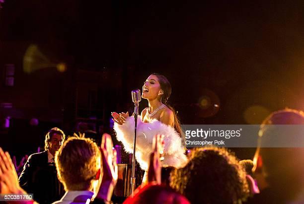 Recording artist Ariana Grande performs onstage during the 2016 MTV Movie Awards at Warner Bros Studios on April 9 2016 in Burbank California MTV...