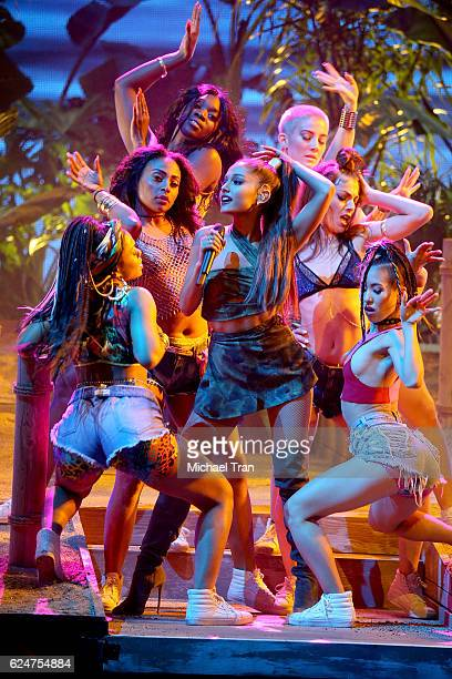 Recording artist Ariana Grande performs onstage during the 2016 American Music Awards held at Microsoft Theater on November 20 2016 in Los Angeles...