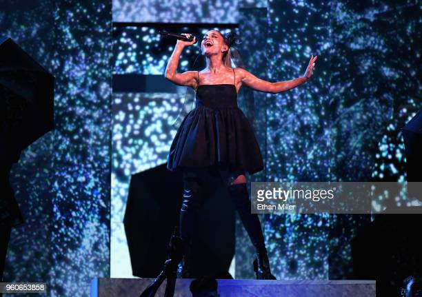 Recording artist Ariana Grande onstage during the 2018 Billboard Music Awards at MGM Grand Garden Arena on May 20 2018 in Las Vegas Nevada