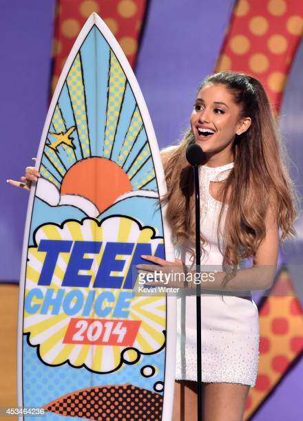 Recording artist Ariana Grande winner of Best Female Artist onstage during FOX's 2014 Teen Choice Awards at The Shrine Auditorium on August 10 2014...