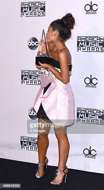Recording artist Ariana Grande winner of the award for Favorite Pop/Rock Female Artist poses in the press room during the 2015 American Music Awards...