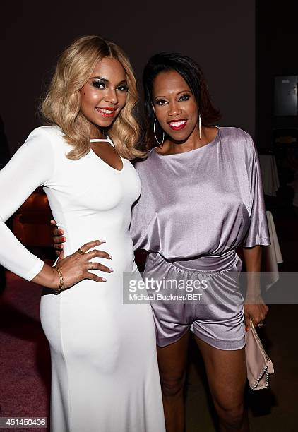 Recording artist Ashanti and actress Regina King attend the BET AWARDS '14 Debra Lee's PreDinner held at Milk Studios on June 28 2014 in Los Angeles...