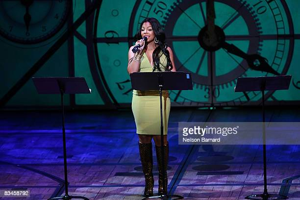 Recording artist Ashanti performs on stage at the 5th anniversary of Wicked on Broadway benefit performance at the Gershwin Theatre on October 27...