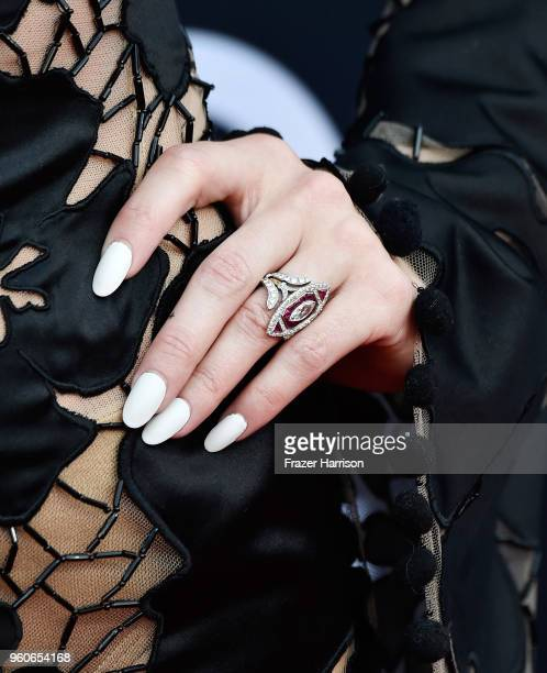 Recording artist Ashlee Simpson-Ross, ring, manicure, and fashion details, attends the 2018 Billboard Music Awards at MGM Grand Garden Arena on May...