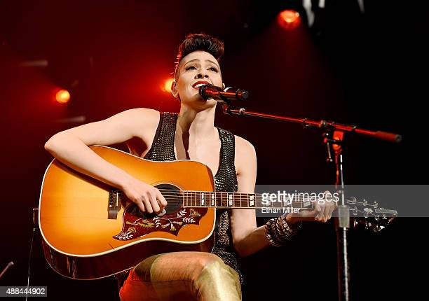 Recording artist Ashley Grace Perez Mosa of Ha*Ash performs as the pop duo opens for Ricky Martin during the kickoff of his One World Tour at Axis at...