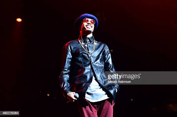 Recording artist August Alsina performs as part of Usher's URX Tour at Philips Arena on December 9 2014 in Atlanta Georgia
