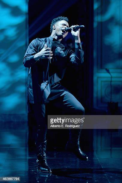 Recording artist Avery Wilson peforms onstage during the 46th NAACP Image Awards presented by TV One at Pasadena Civic Auditorium on February 6 2015...