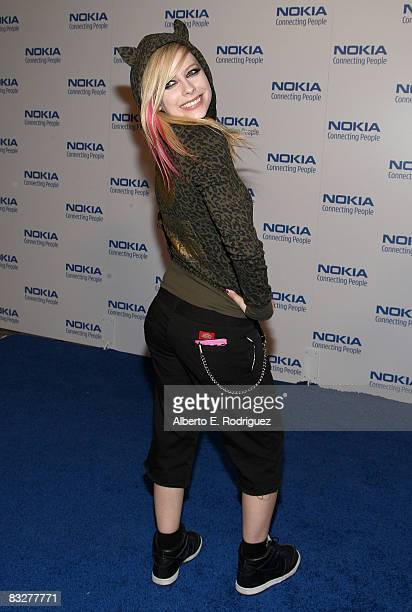 Recording artist Avril Lavign arrives at the premeire of Nokia Productions' Spike Lee Collaboration film held at the Nokia Theater L.A. Live on...