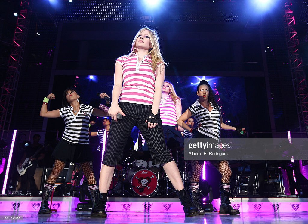 Recording artist Avril Lavigne performs at the premeire of Nokia Productions' Spike Lee Collaboration film held at the Nokia Theater L.A. Live on October 14, 2008 in Los Angeles, California.
