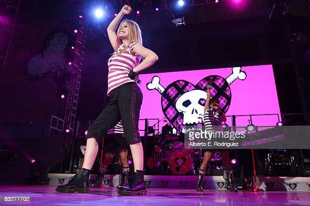 Recording artist Avril Lavigne performs at the premeire of Nokia Productions' Spike Lee Collaboration film held at the Nokia Theater LA Live on...